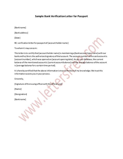 Bank Verification Letter Sle Bank Verification Letter For Passport
