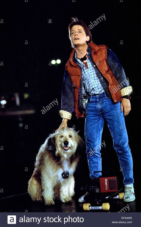 michael j fox young back to the future michael j fox dog back to the future 1985 stock photo