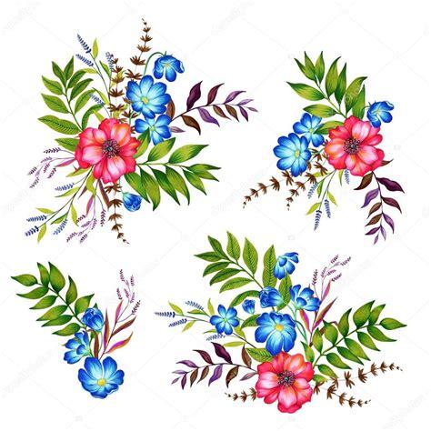 fiori illustrazioni set di 4 mazzi di fiori illustrazioni botaniche di fiori