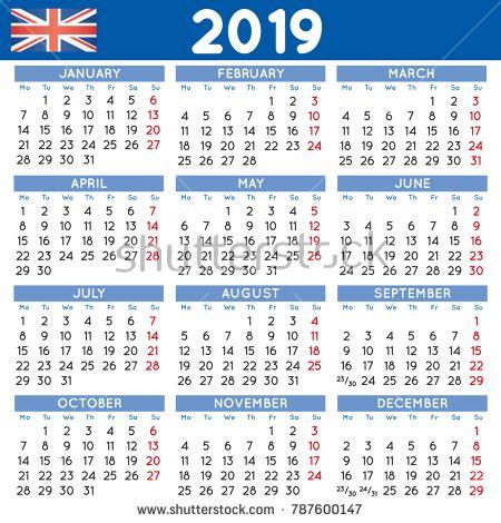2019 calendar uk | printable yearly calendar
