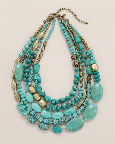 turquoise stone necklace a statement necklace designed with turquoise toned stones