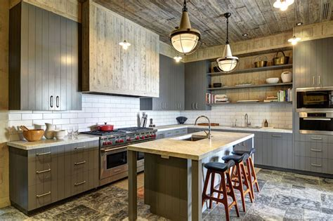 Barn Board Kitchen Cabinets Gray Paneled Kitchen Cabinets Country Kitchen Hummel