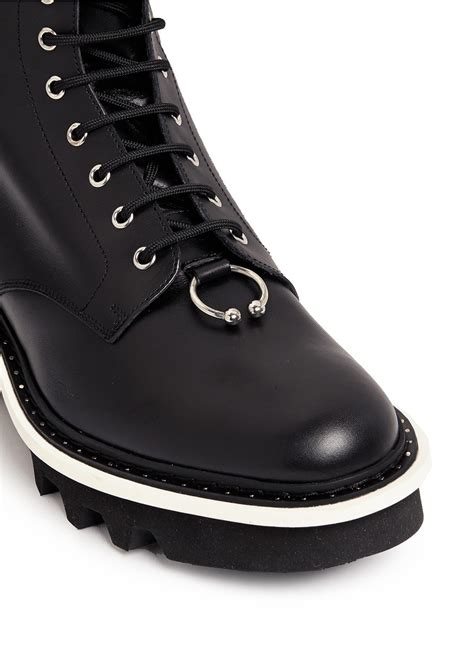 neil barrett leather combat boots in black for lyst