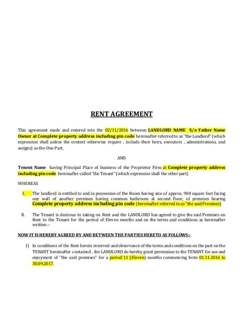 lease agreement format rental agreement