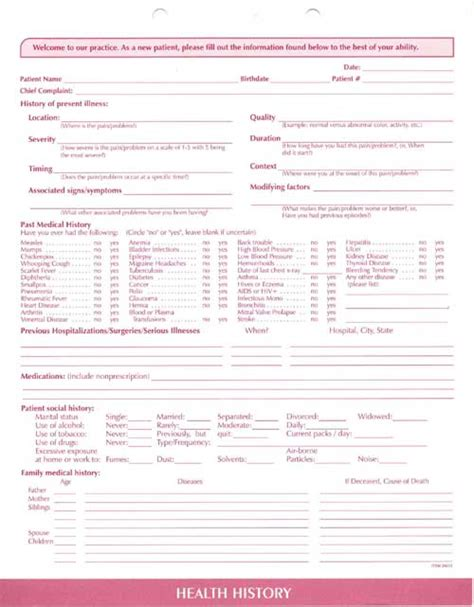 comprehensive health history template clinical data forms complete system clinical data