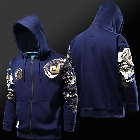 Zipper Hoodie Overwatch Brothersapparel 2 blizzard overwatch hanzo hoodies blue zip up sweatshirts wishining