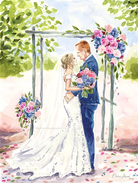 Wedding Illustration by Bridal Portrait Wedding Illustration Groom Bridesmaid