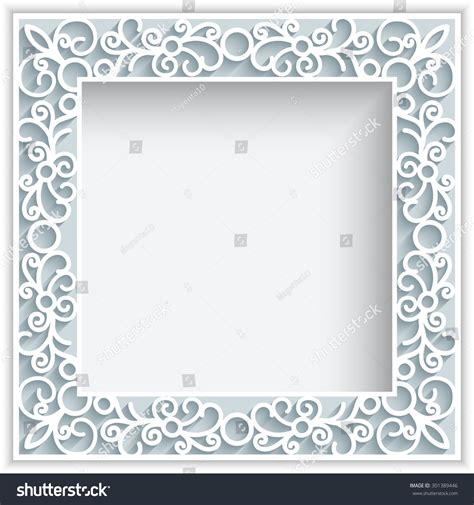 square greeting card template square vector frame with paper swirls ornamental lace