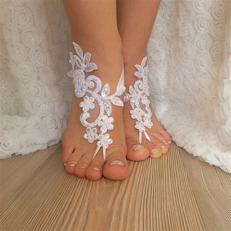 Lace Sandals Wedding by White Lace Barefoot Sandals Wedding Barefoot