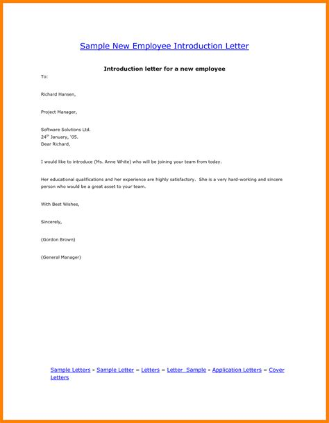 Introduction Letter New Employee Business Introduction Letter To New Clients Template