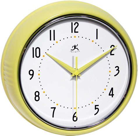 retro wall clocks black convex wall clock silent sweeping movement retro yellow wall clock by infinity instruments metal