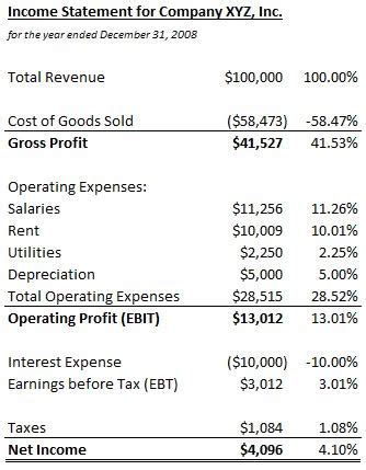 sles of financial reports common size income statement definition exle