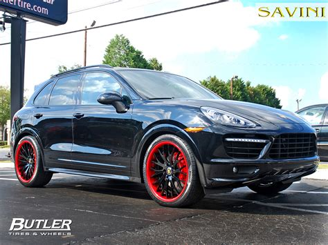 red porsche black wheels cayenne savini wheels