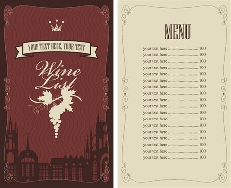 wine menu list template vector material 09 vector cover