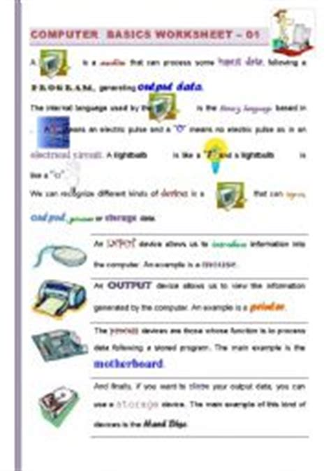 Computer Basics Worksheet by Worksheet Part I 2 Computer Basics Getting Familiarized With Computers For Children