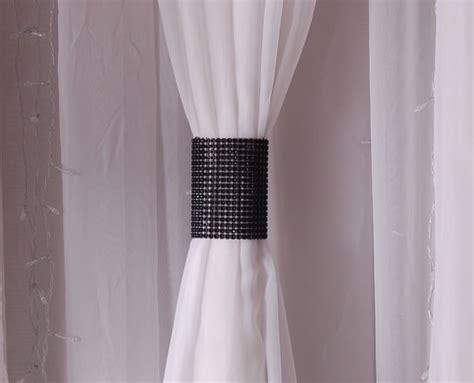 velcro curtains black rhinestone mesh velcro band curtain tie