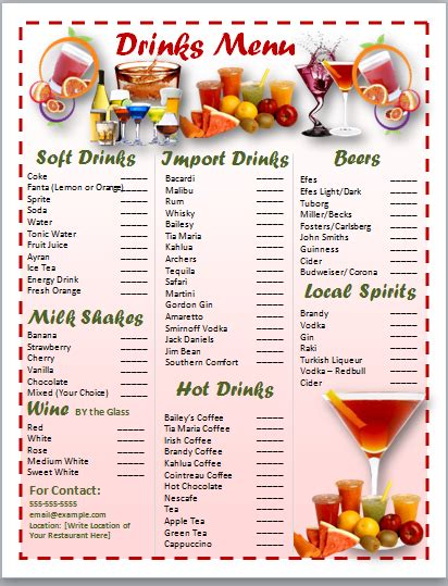 free drinks menu template menu templates archives ms office guru