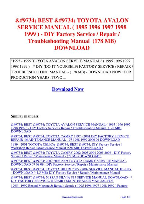 how to download repair manuals 2008 toyota avalon security system toyota avalon service manual 1995 1996 1997 1998 1999 diy factory service repair pdf by david