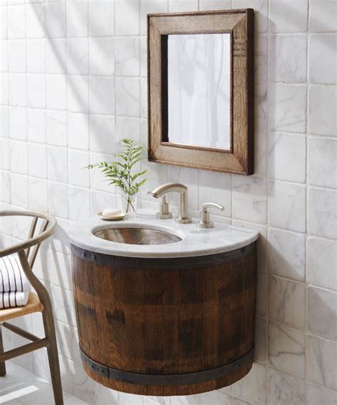 Bordeaux reclaimed wine barrel bathroom vanity by native trails transitional bathroom