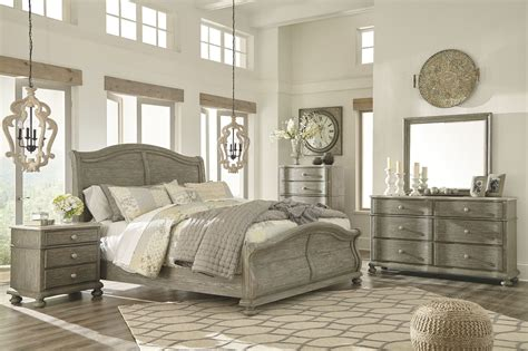 Furniture Sleigh Bedroom Set by Marleny Gray And Whitewash Sleigh Bedroom Set From