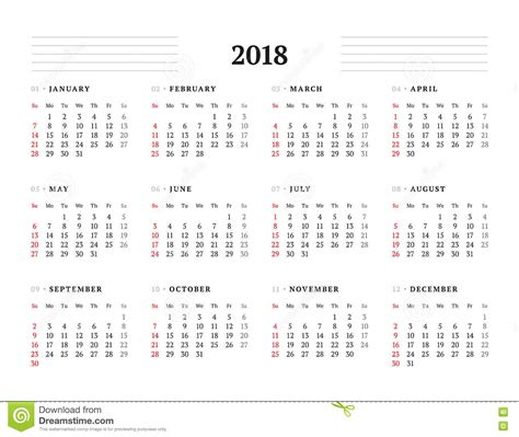 2018 Calendar Year Calendar For 2018 Year Printable Calendar 2017 2018