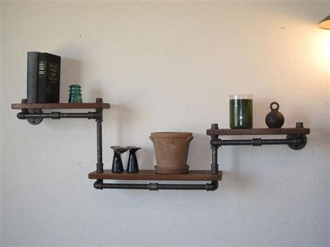 industrial plumbing pipe shelf three tier walnut 219