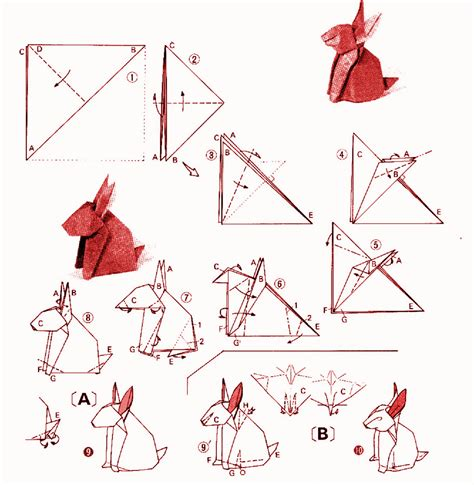 Origami Rabbit Diagram - rabbit yoshizawa