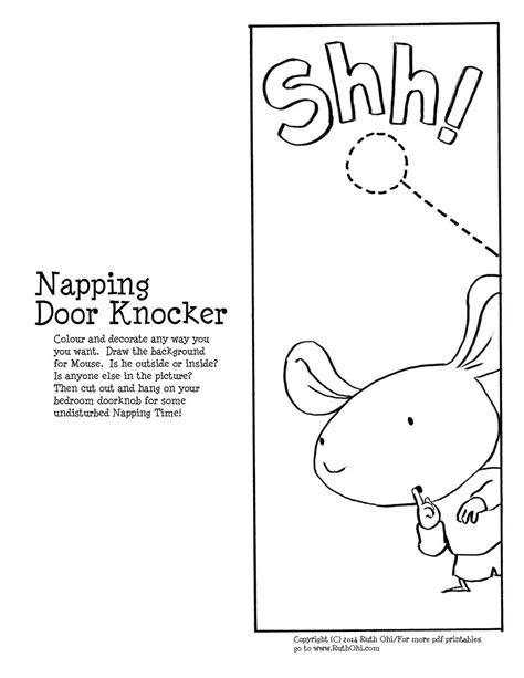 door knocker template activities shh my s napping www ruthohi