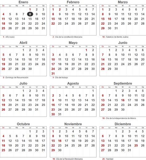 calendario 2015 de m 233 xico con los principales d 237 as