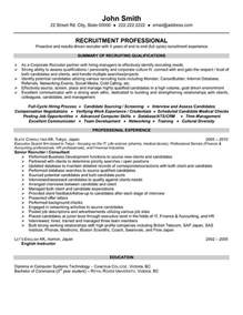 Sle Recruiter Resume by Senior Recruiter Resume Sle Template
