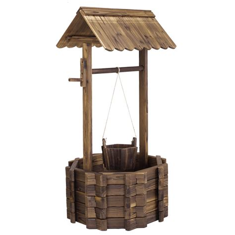 outdoor home decoration wooden wishing well bucket flower planter patio garden