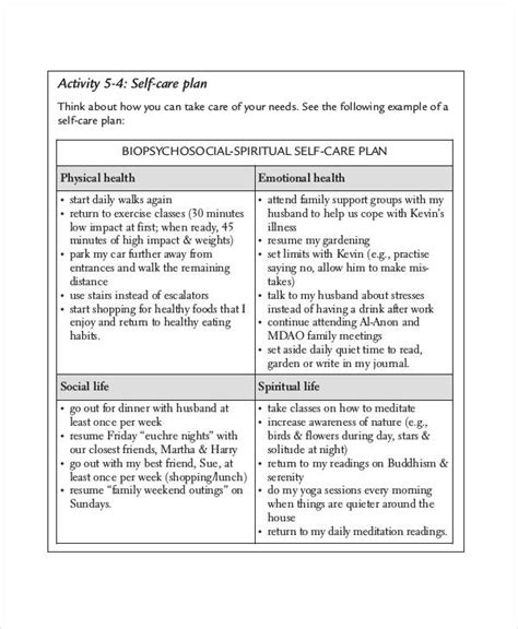 self care plan template care plan templates 13 free word pdf format