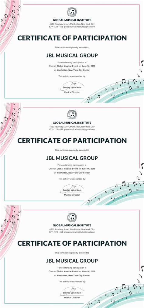 choir certificate template best 25 certificate of participation template ideas on