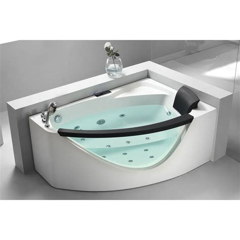 corner jacuzzi bathtub eago am198 5 ft rounded clear modern corner whirlpool bath