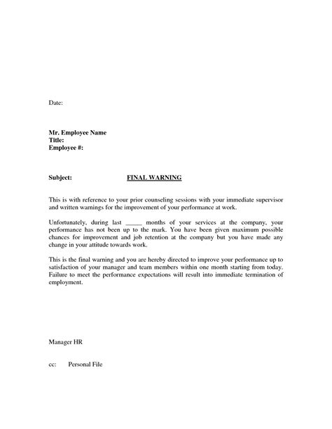 termination letter template attendance sle employee warning letter for attendance warning