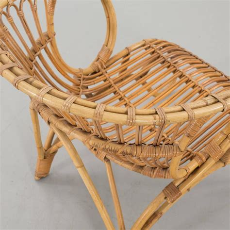danish wicker and bamboo easy chair at 1stdibs