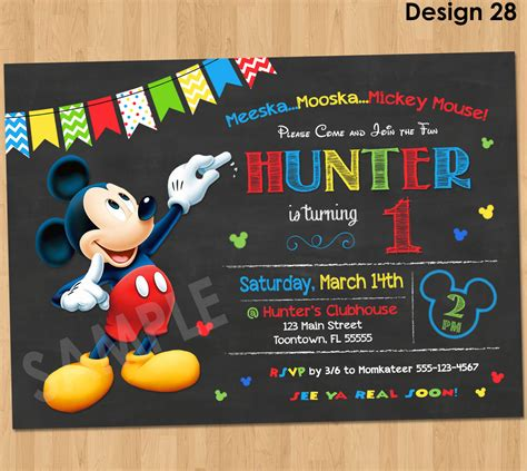 Birthday Invitation Card Mickey Mouse Mickey Mouse Birthday Invitation Mickey Mouse Clubhouse