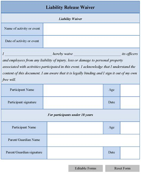 release from liability form template general liability waiver form free printable documents
