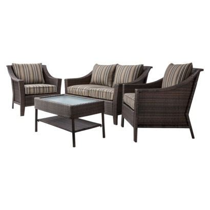 Threshold Rolston 4 Piece Wicker Patio Conversation Threshold Wicker Patio Furniture