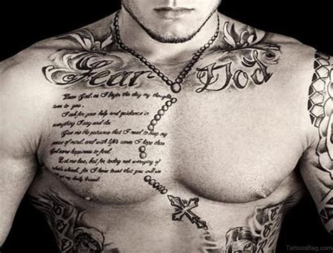 cool chest tattoos for men 40 religious rosary tattoos for chest