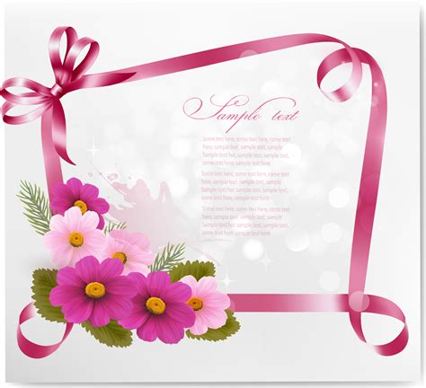 flower design greeting cards ribbon with flower greeting card vector 02 free download