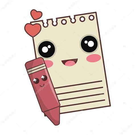 imagenes de lapiz kawaii dibujos animados de kawaii de l 225 piz bloc de notas y