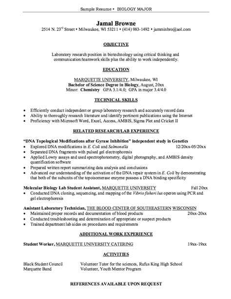 curriculum vitae biology exle resume ixiplay free