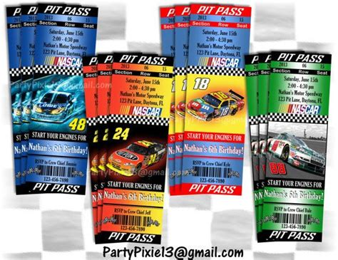 printable nascar birthday invitations nascar ticket party invitation ticket style pit pass