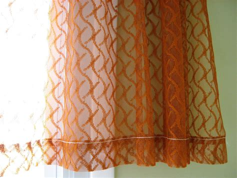 curtains with orange sheer curtain burnt orange rust color one panel of netted