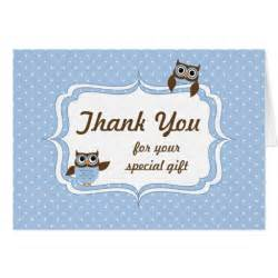 owls baby boy shower thank you card zazzle