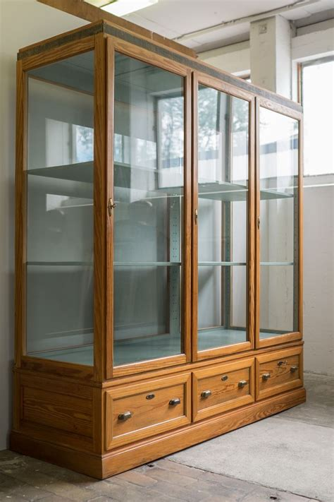 wood and glass display german glass and wood display 1930s for sale at