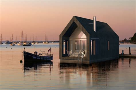 floating barn modest houseboat inspired by sea shacks