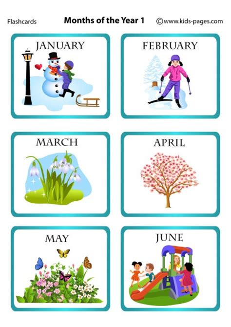 Months Of The Year Flashcards Printable