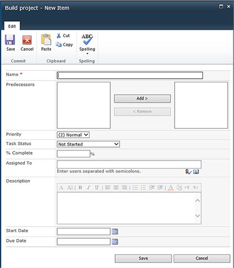 sharepoint task list template create and manage a project task list sharepoint